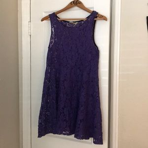 Free People Purple Overlay Lace Dress